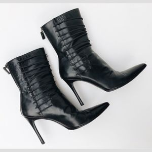 Gucci Black Leather Pointed Toe Short Boots